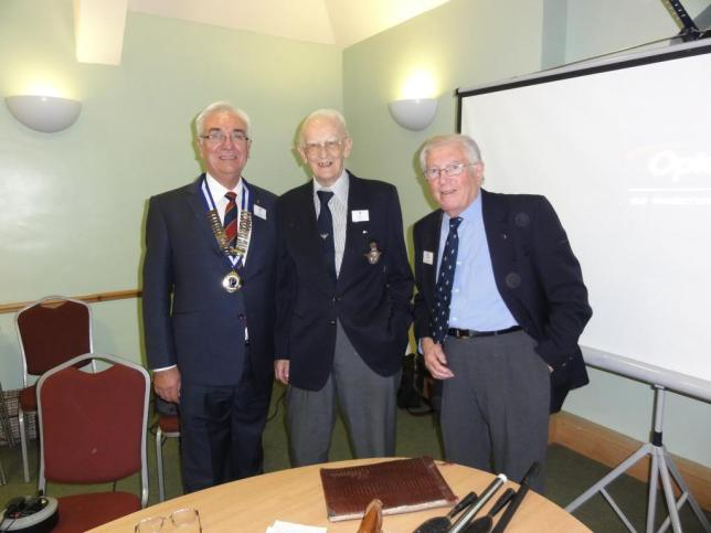 President of Probus Basingstoke Paul Flint with Group Captain Mel Kent and John Powter (past president 1991/92) who was also in Sudan a little later