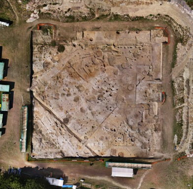"Aerial view of the ""Insula"" excavation"
