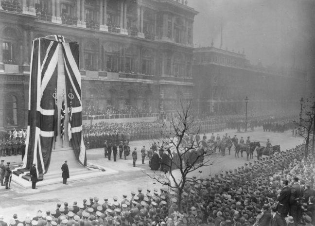 Cenotaph Unveiling in Whitehall designed by Lutyens